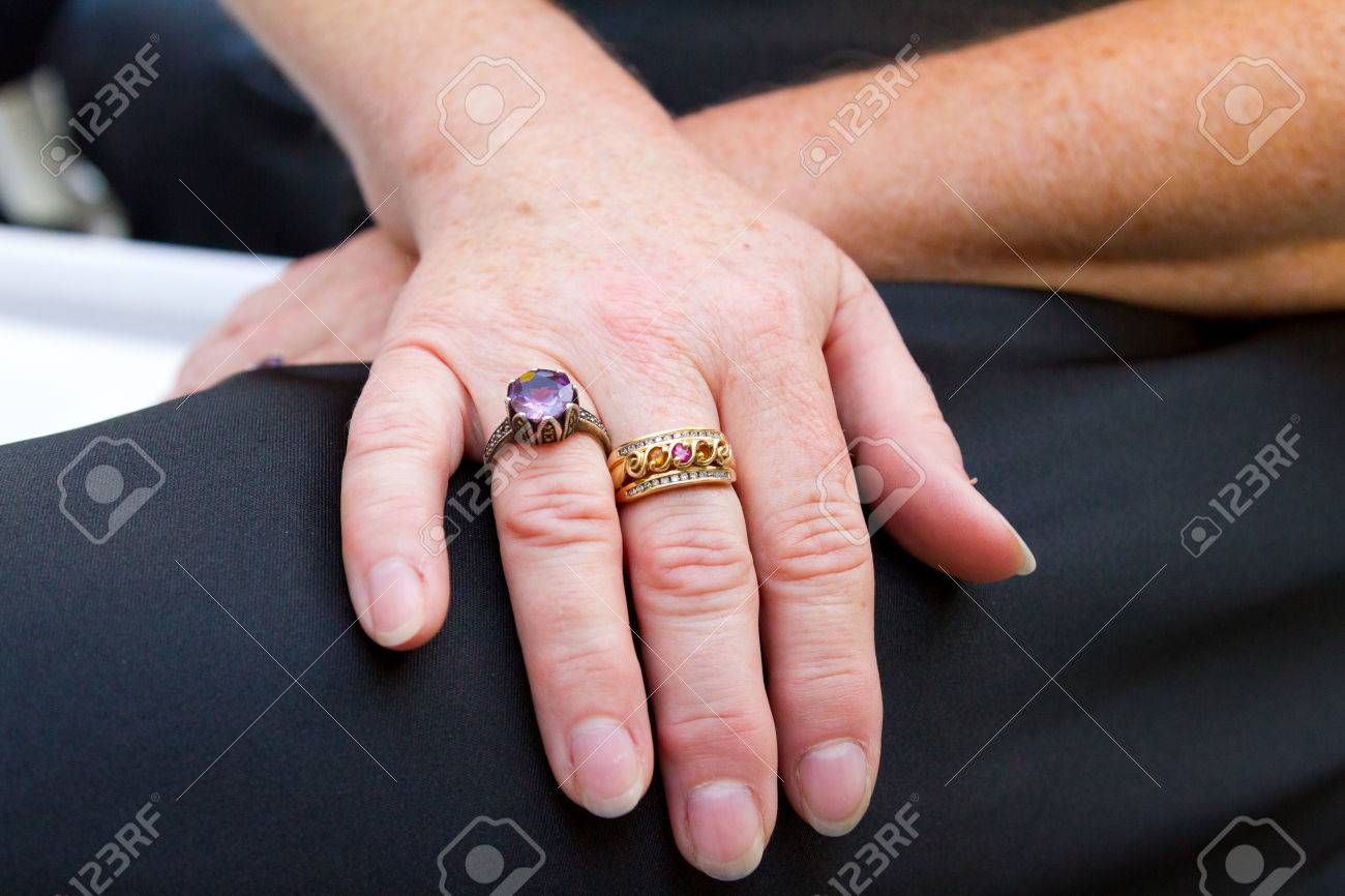 Wedding Ring Worn On The Right Hand Of This Elderly Bride. Stock ...