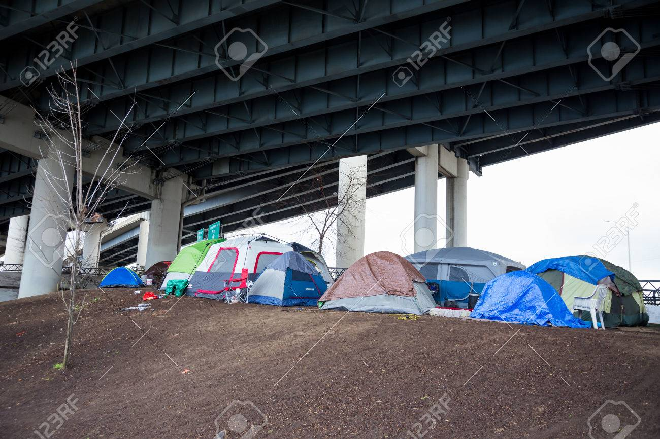 PORTLAND OR - FEBRUARY 27 2016 Homeless c&s with tents and tarp shelter & PORTLAND OR - FEBRUARY 27 2016: Homeless Camps With Tents And ...