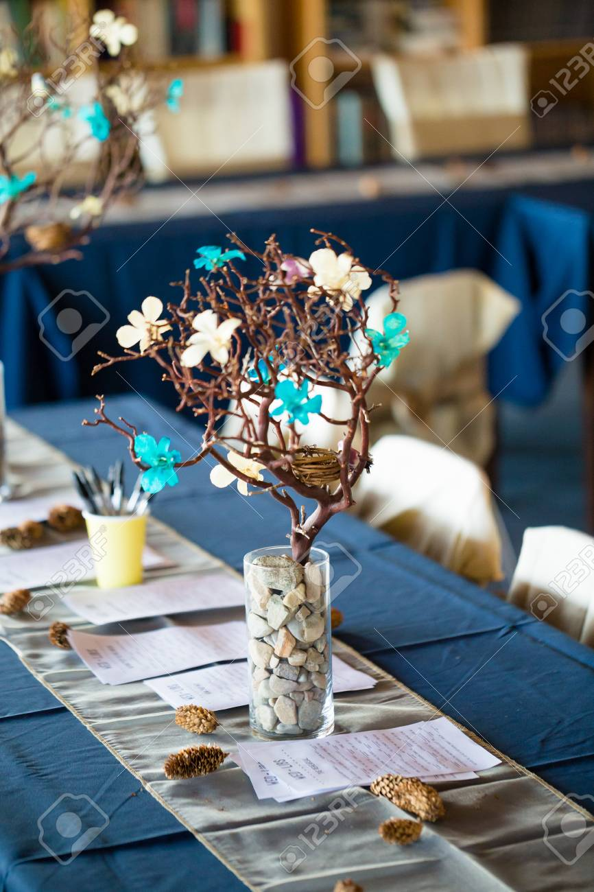 Love bird theme used in the wedding reception decorations features love bird theme used in the wedding reception decorations features branches and birds stock photo junglespirit Gallery