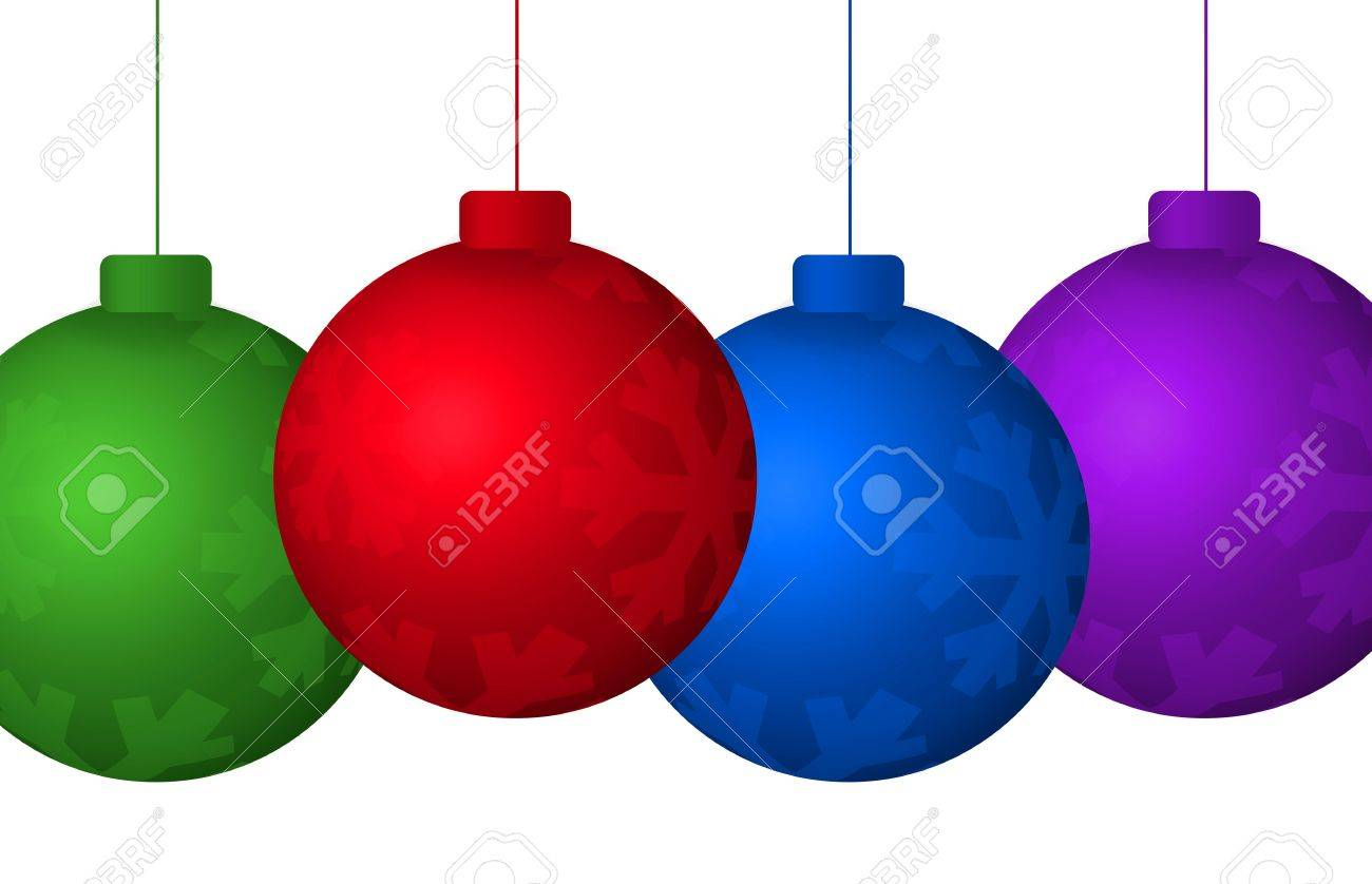 Graphic Illustration Of Colorful Hanging Christmas Tree Ornaments Isolated  Against A White Background Stock Illustration