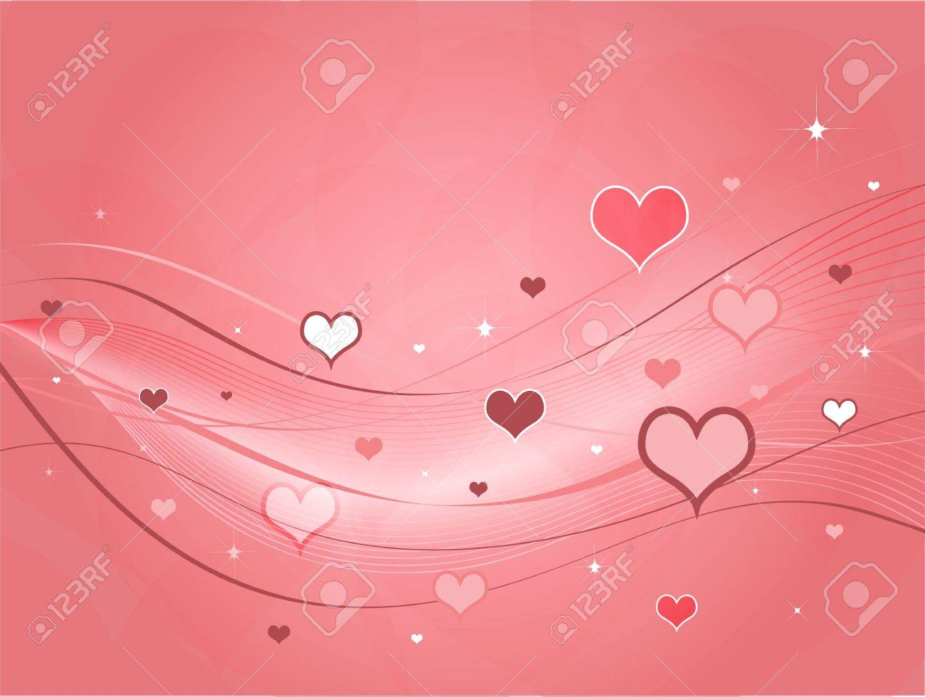 Different shapes and shades of pink hearts against a pink background with swoops and ribbons. Stock Photo - 2298629