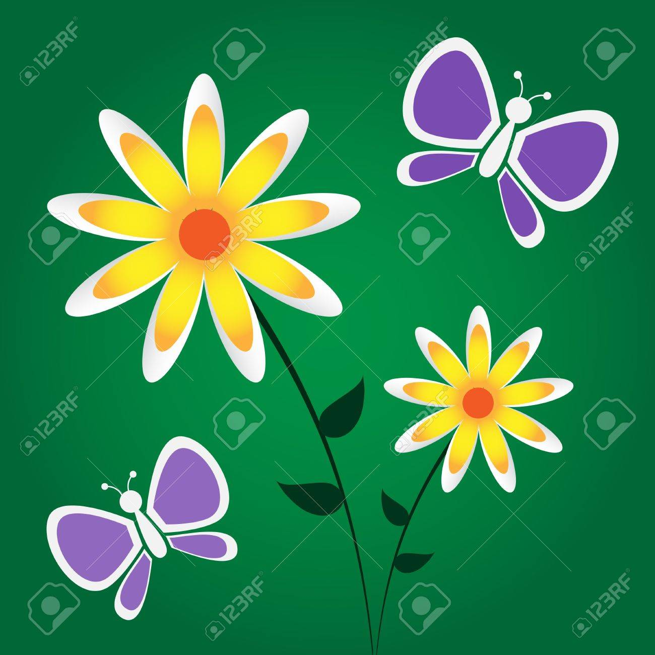 Graphic illustration of yellow and white flowers and purple graphic illustration of yellow and white flowers and purple butterflies against a dark green gradient background mightylinksfo