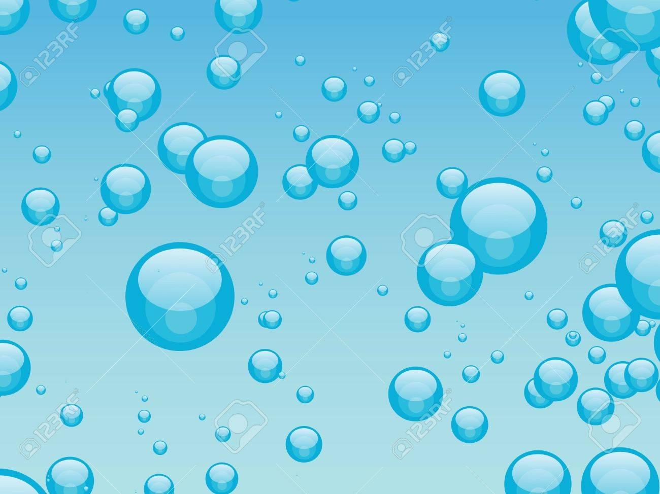 Pequeñas Burbujas De Azar En Contra De Un Gradiente De Fondo Azul