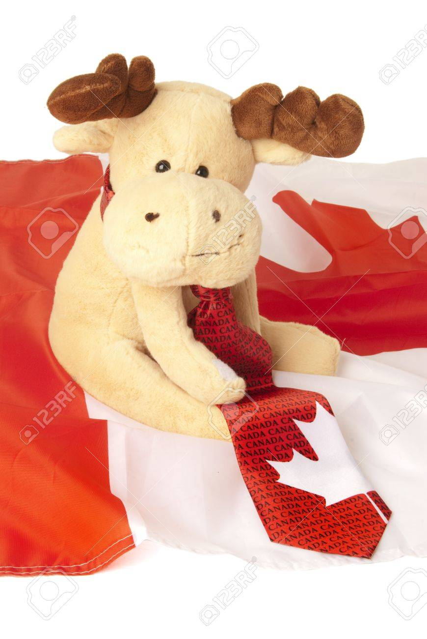 this is a moose toy seating over a canadian flag and wearing