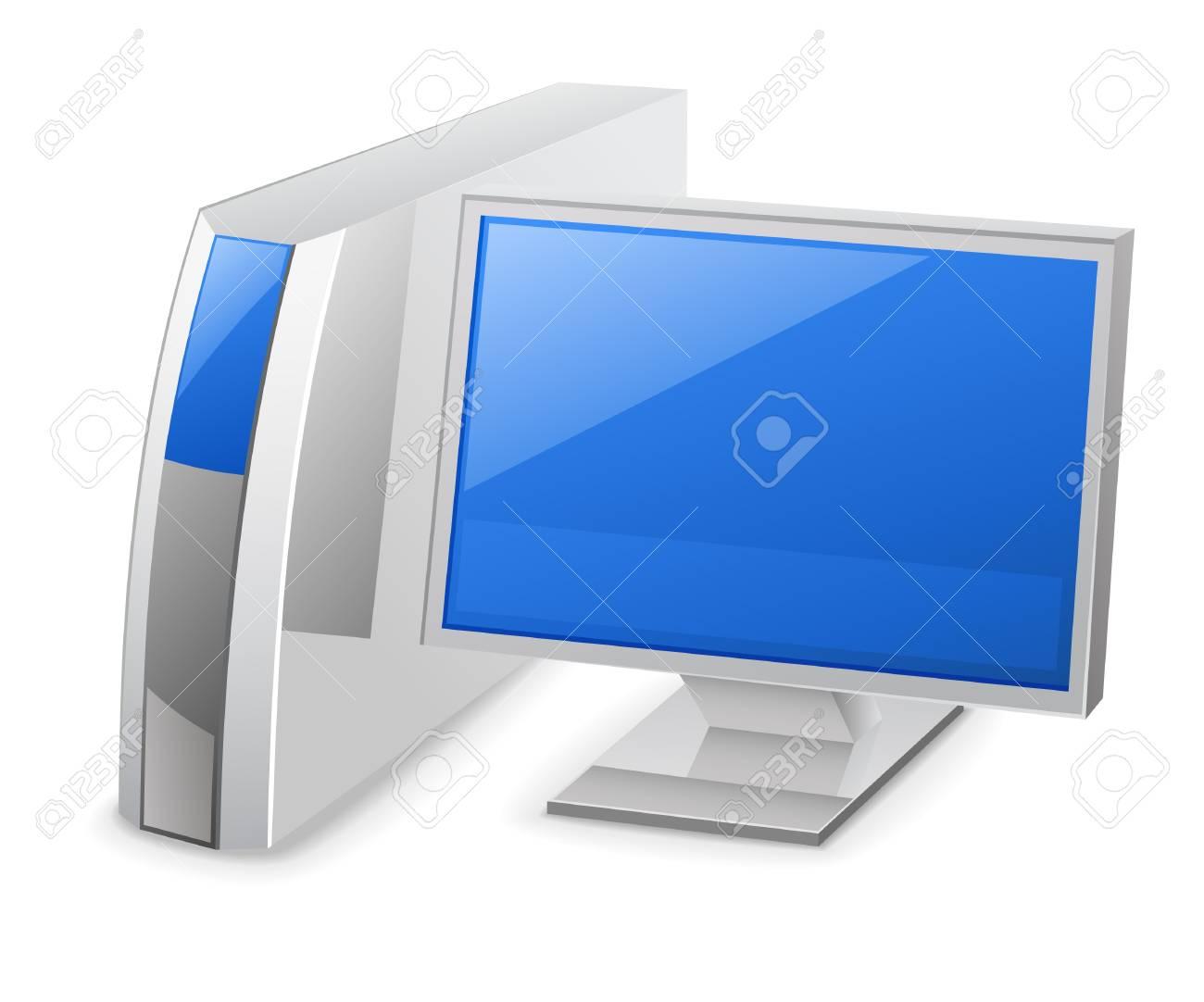 Vector illustration of desktop computer on white background Stock Vector - 11514237