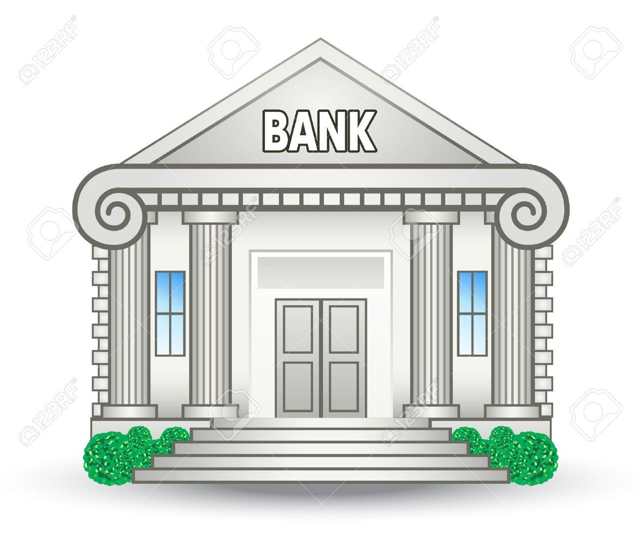 白い背景に銀行の建物のベクトル イラストのイラスト素材ベクタ