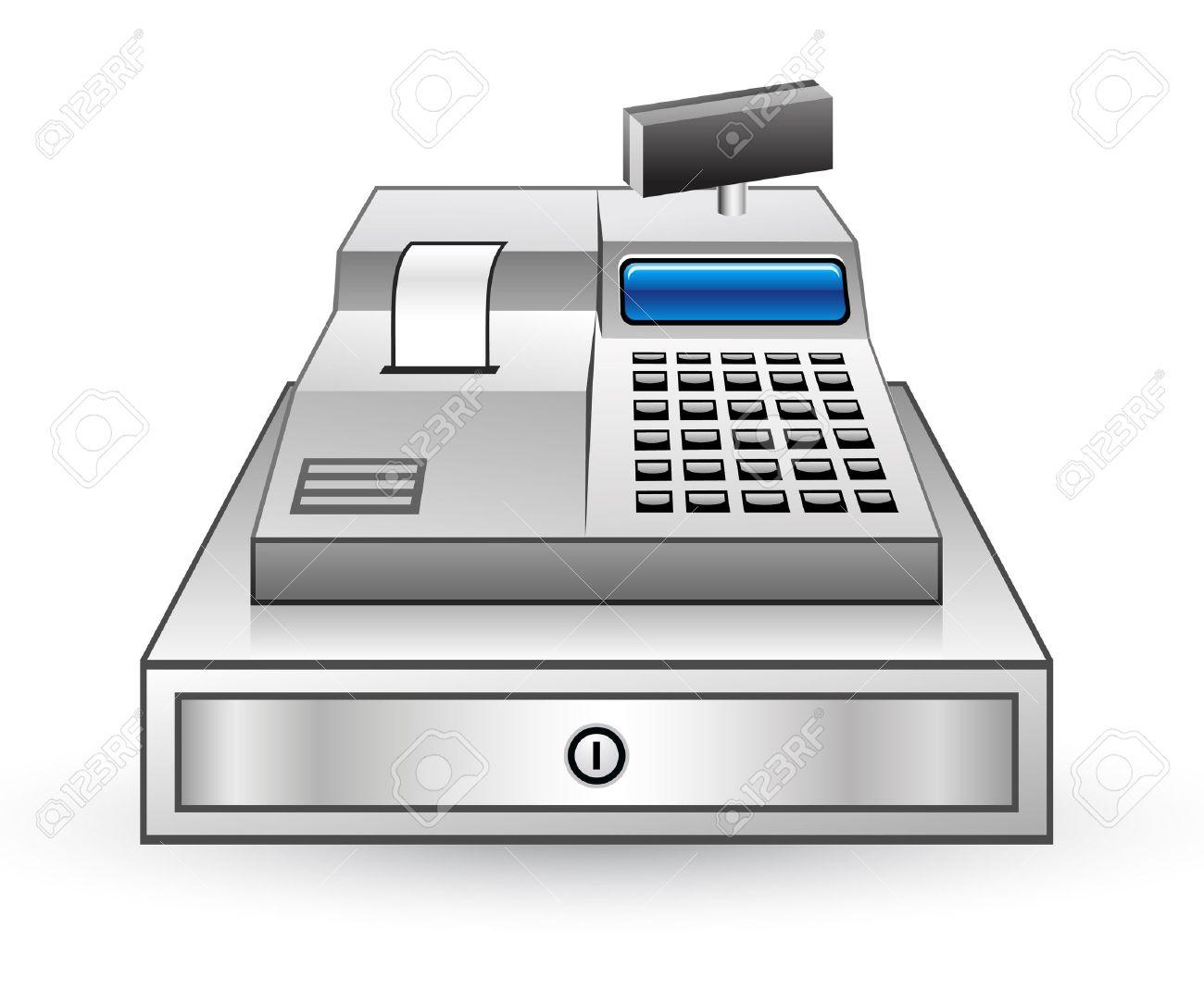 白い背景の上の現金レジスタのベクトル イラストのイラスト素材ベクタ