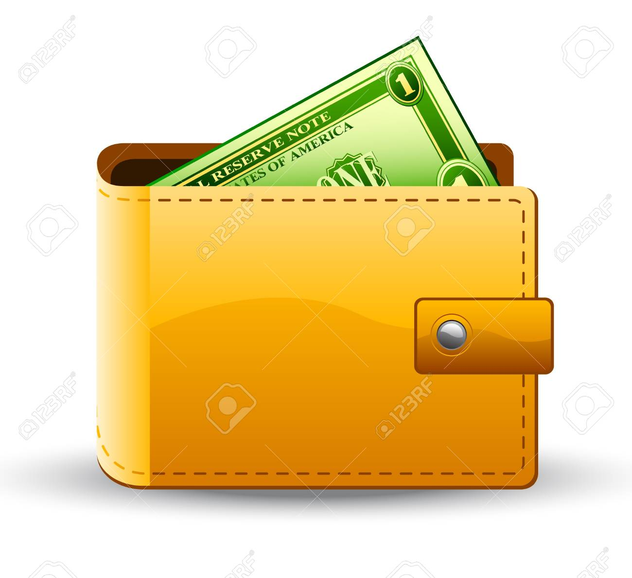 Vector illustration of wallet with dollar on white background Stock Vector - 11660736