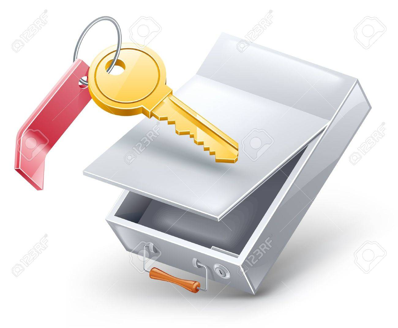 Vector illustration of safety deposit box with key on white background. Stock Vector - 12497099