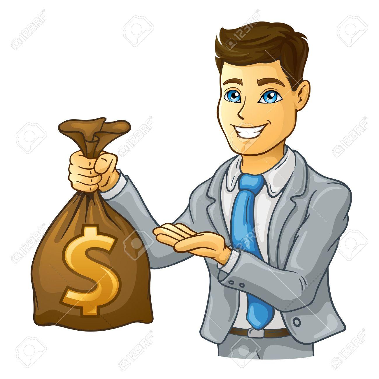 Ejemplo de hombre de negocios la celebración de bolsa de dinero en el fondo blanco.