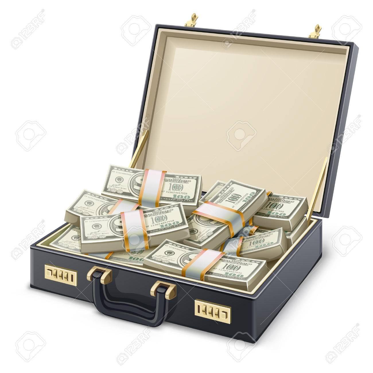 illustration case full of money on white background - 32521244