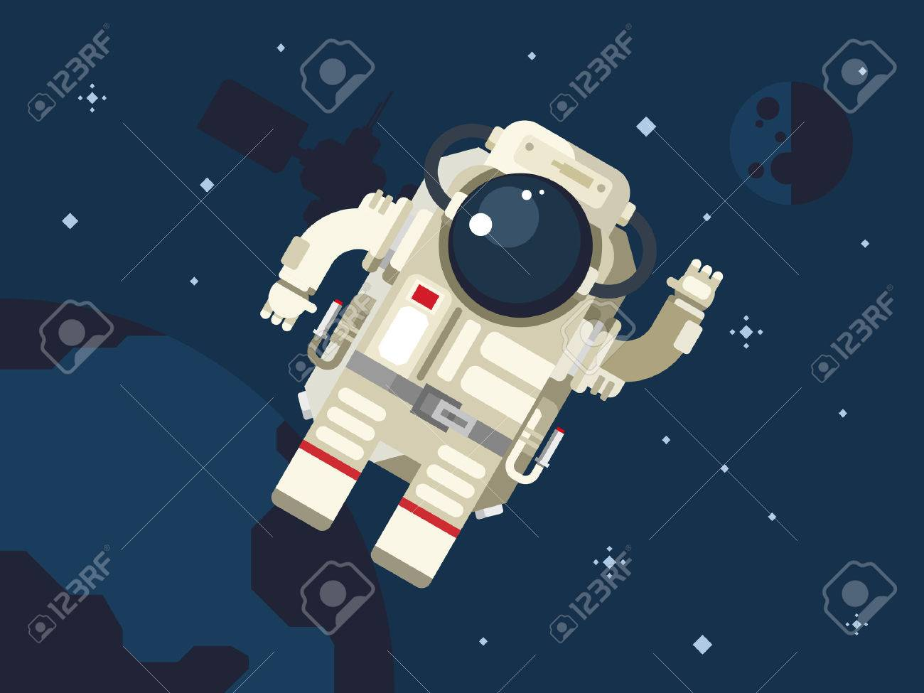 Astronaut in outer space concept vector illustration in flat style. - 42554162