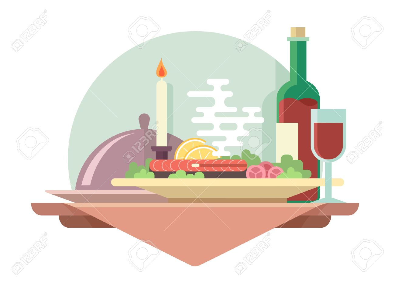 Dinner at restaurant flat illustration. Vector eat and drink, glass of wine - 42763001