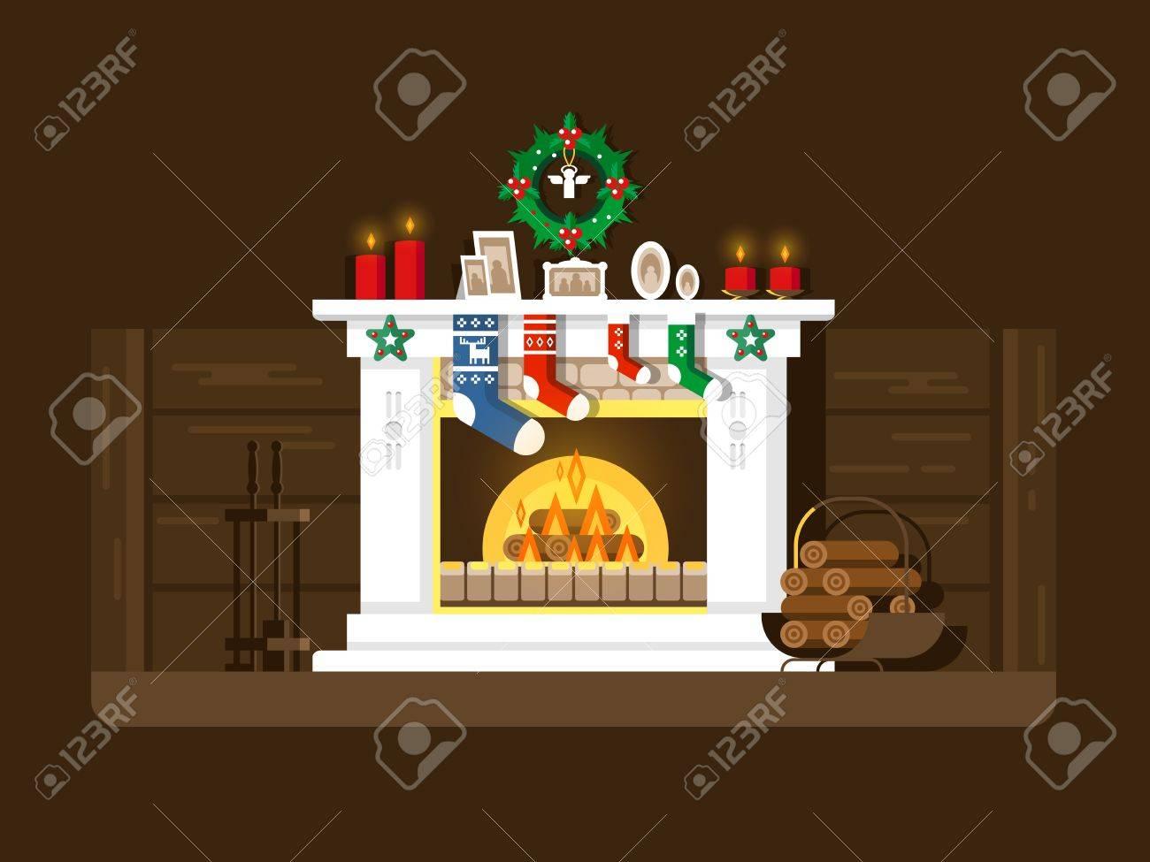 christmas fireplace xmas and fire home decoration interior