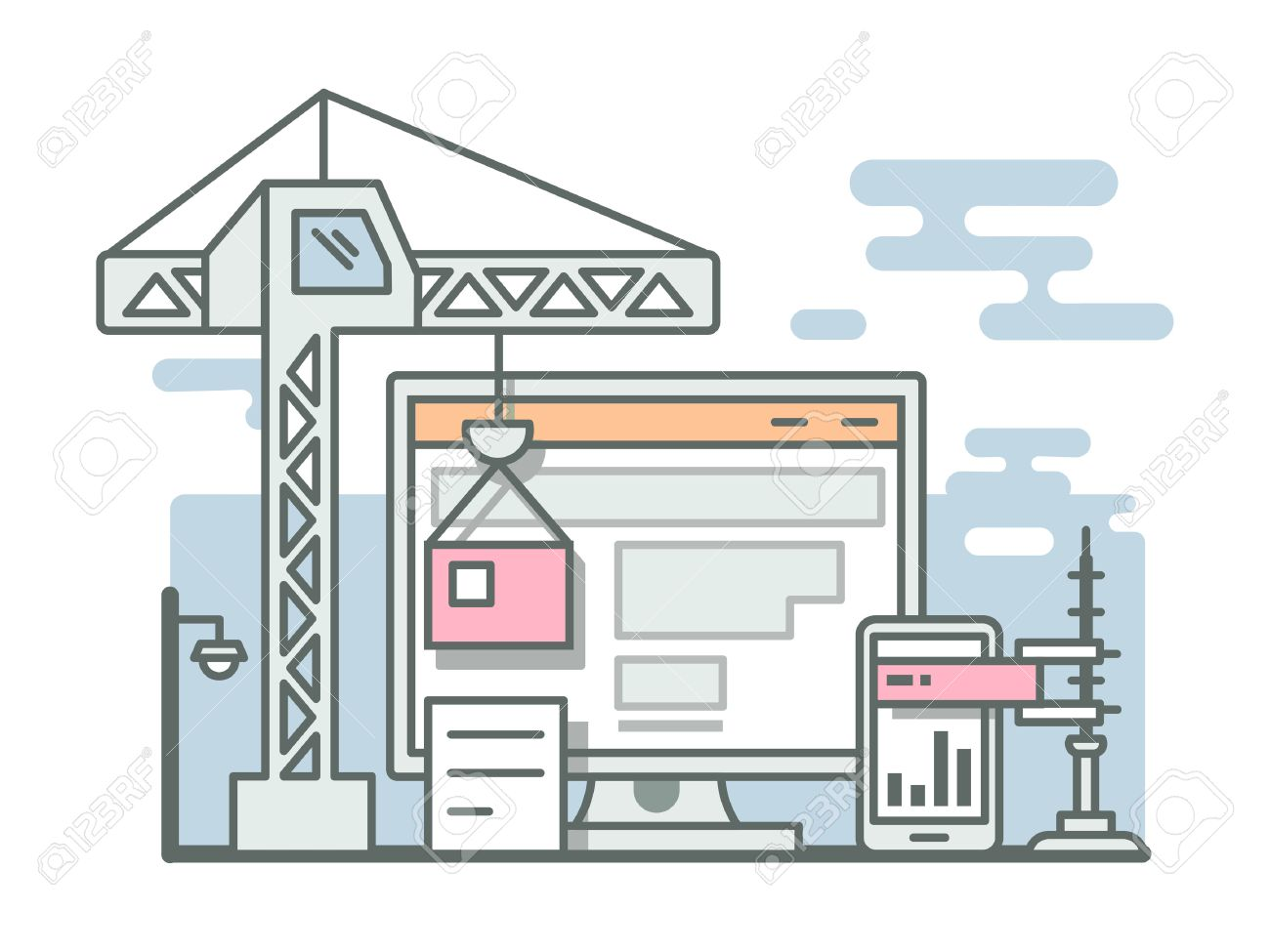construction website linear style project site construct construction website linear style project site construct development and build flat vector illustration