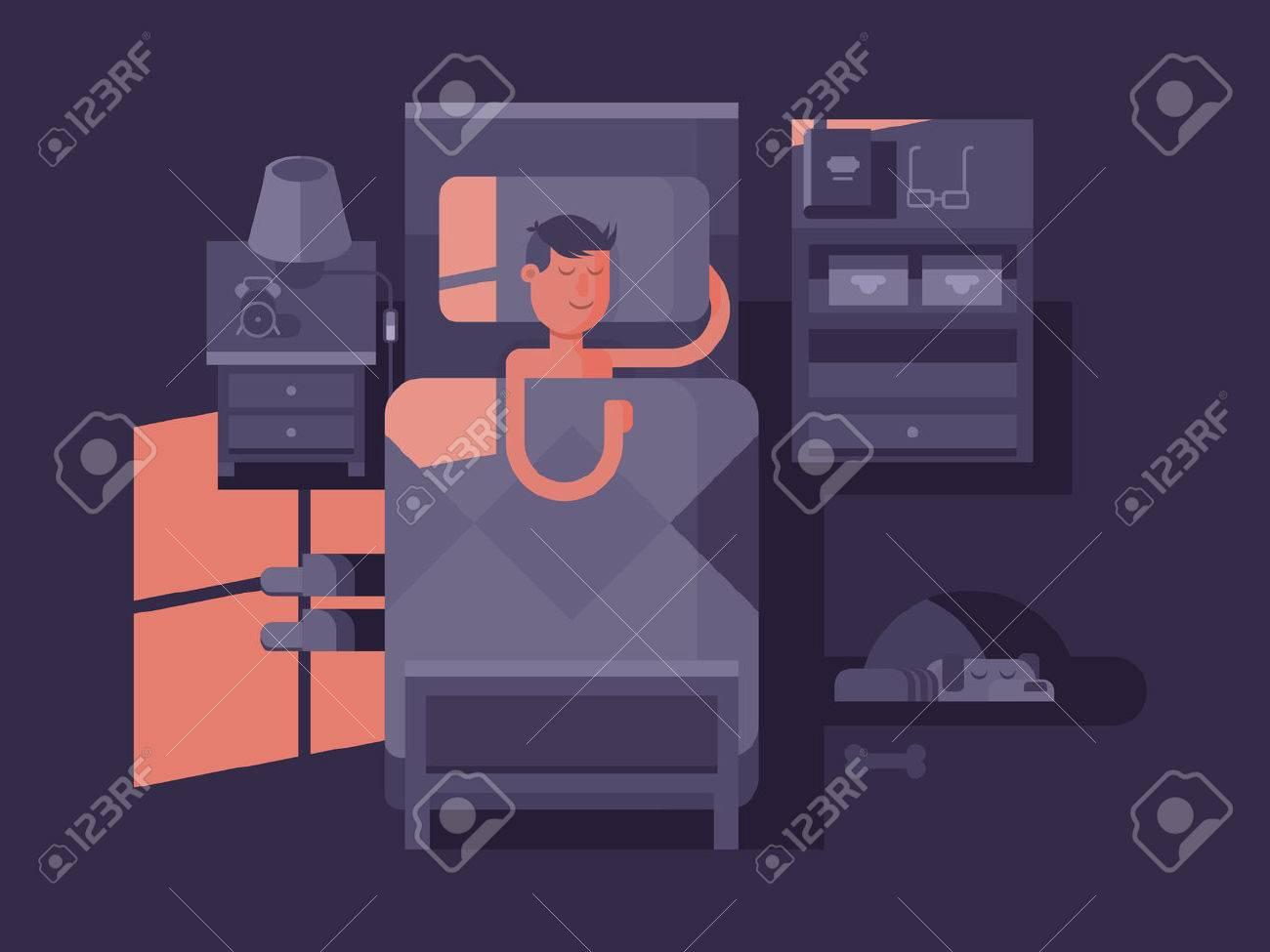 Man sleep in bed. Dream night, bedroom interior, vector illustration - 50996632