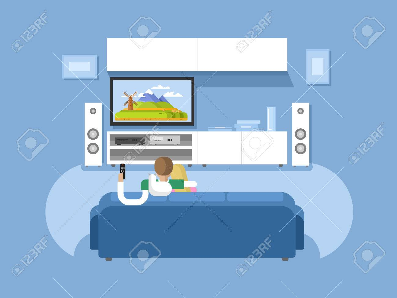 Interior Home Cinema. House Furniture, Movie And Tv, Screen And ...