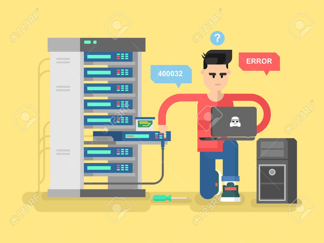 IT Specialist network. Technology computer, information and electronic, engineer repair system, vector illustration - 50996649