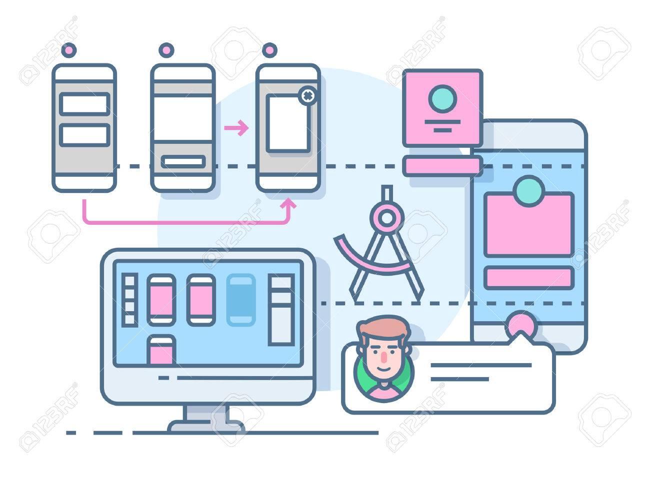 UX UI design flat. Mobile interface, website internet, development media page, illustration - 52582063