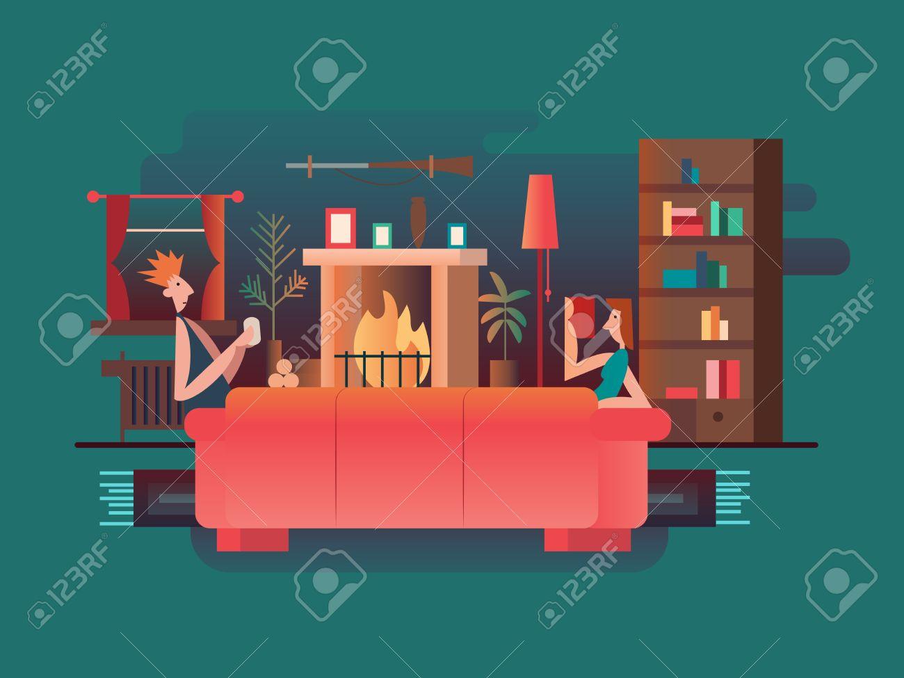 Inter-Raum Kamin. Home Zimmer, Möbel Modern, Haus Und Couch, Wohn ...