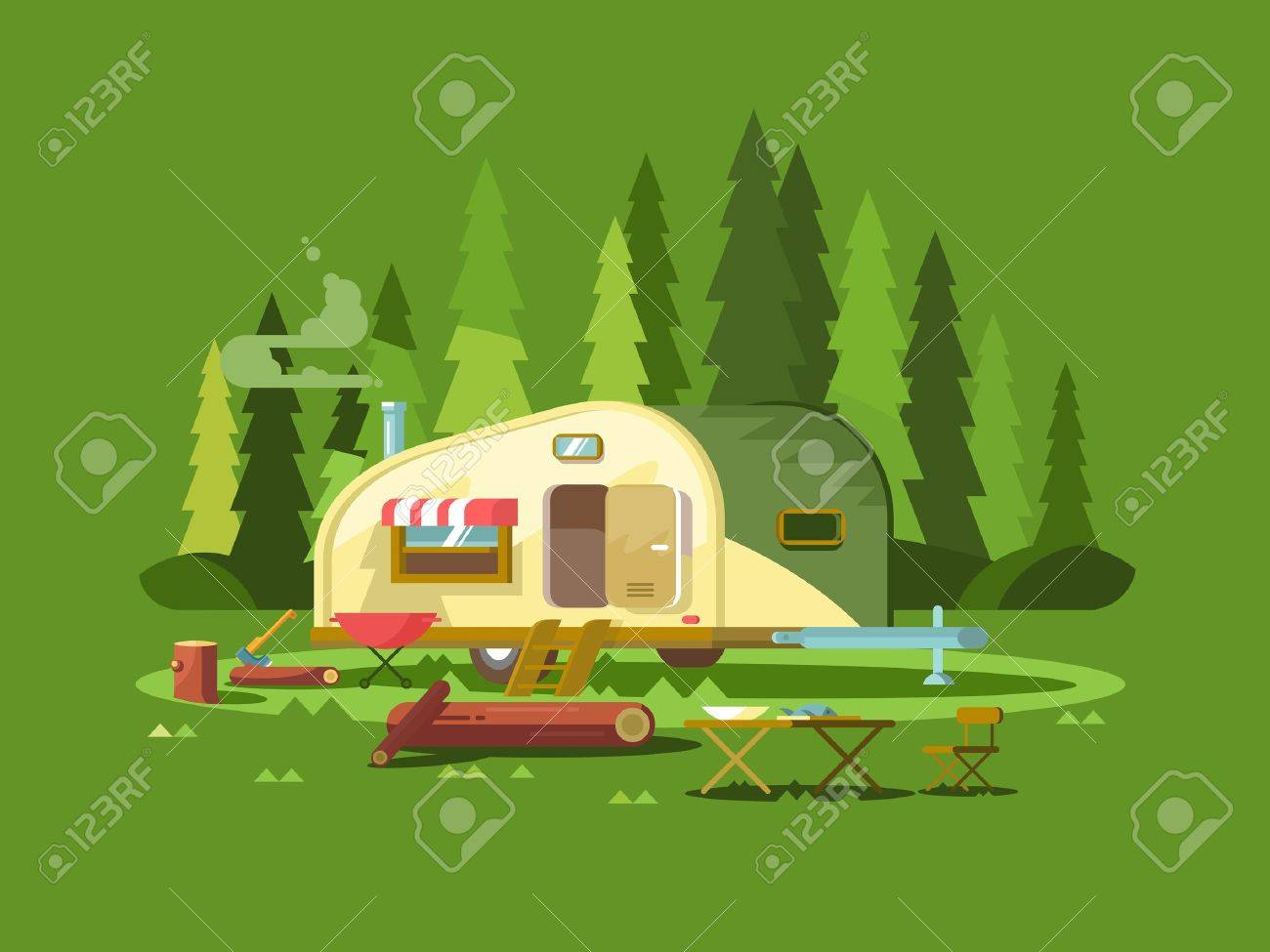Trailer for travel in forest. Summer holiday, adventure vehicle for tourism, trip truck, vector illustration - 54703287