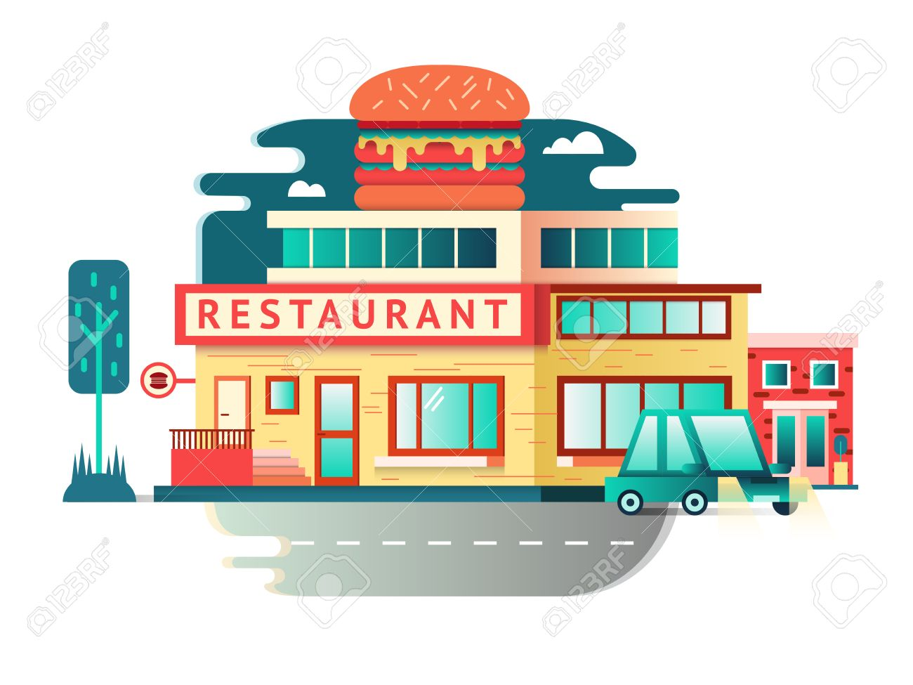 Building cartoon clipart restaurant building and restaurant building - Restaurant Building Flat Design Architecture Facade Food Cafe Construction Vector Illustration Stock Vector