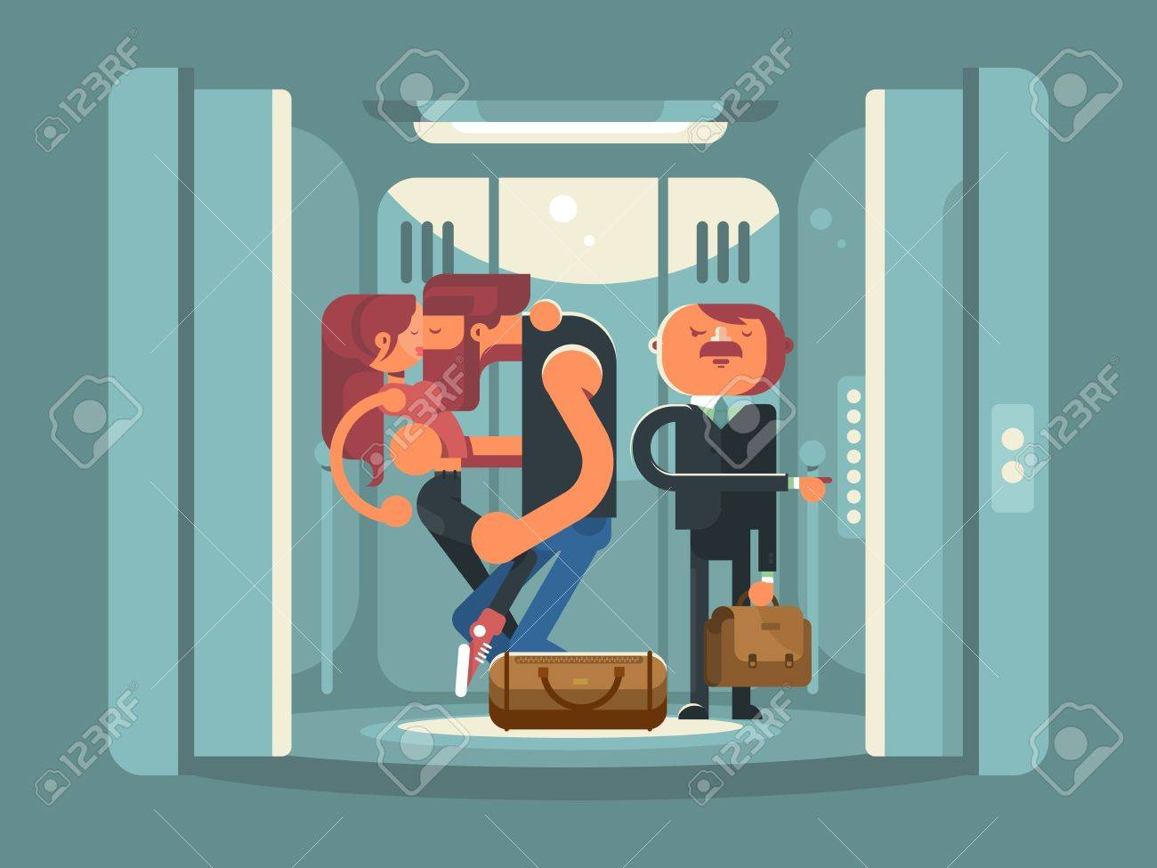 people in elevator clipart. couple kissing in the elevator. people man and woman kiss. standing businessman suit elevator clipart
