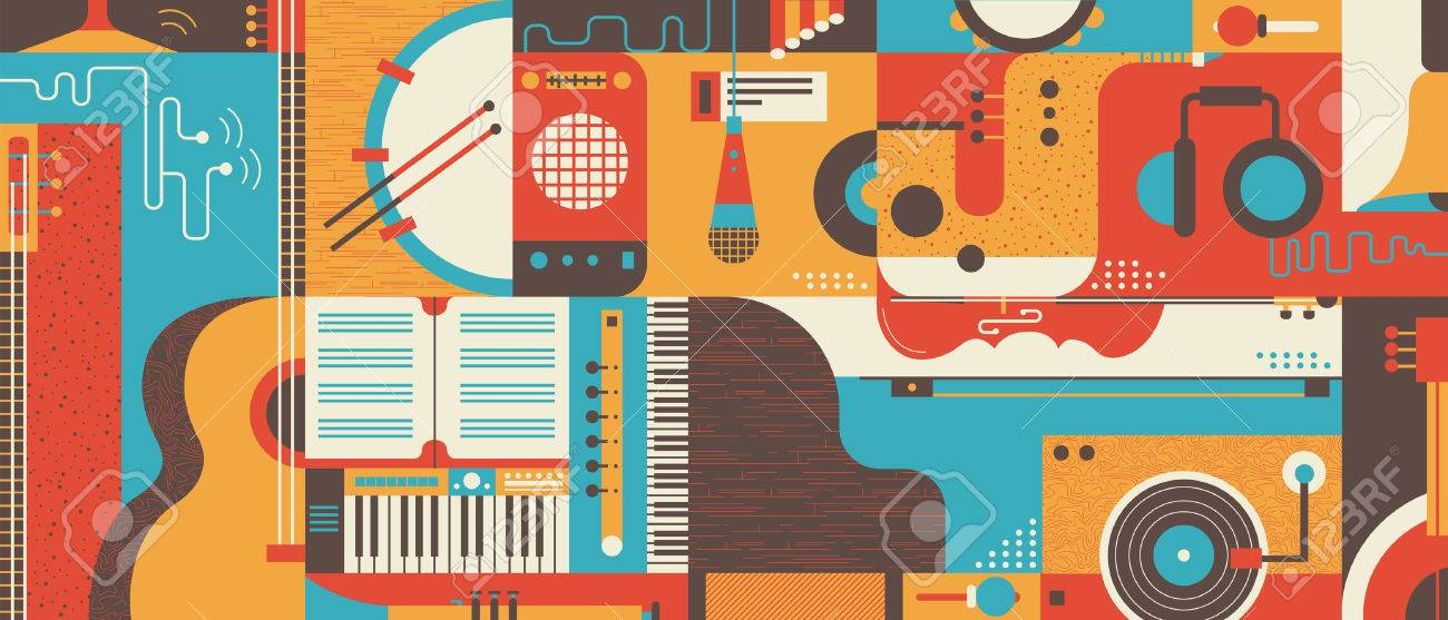 Abstract Music Background, flat vector illustration. Collage of varios musical instruments. - 57081173