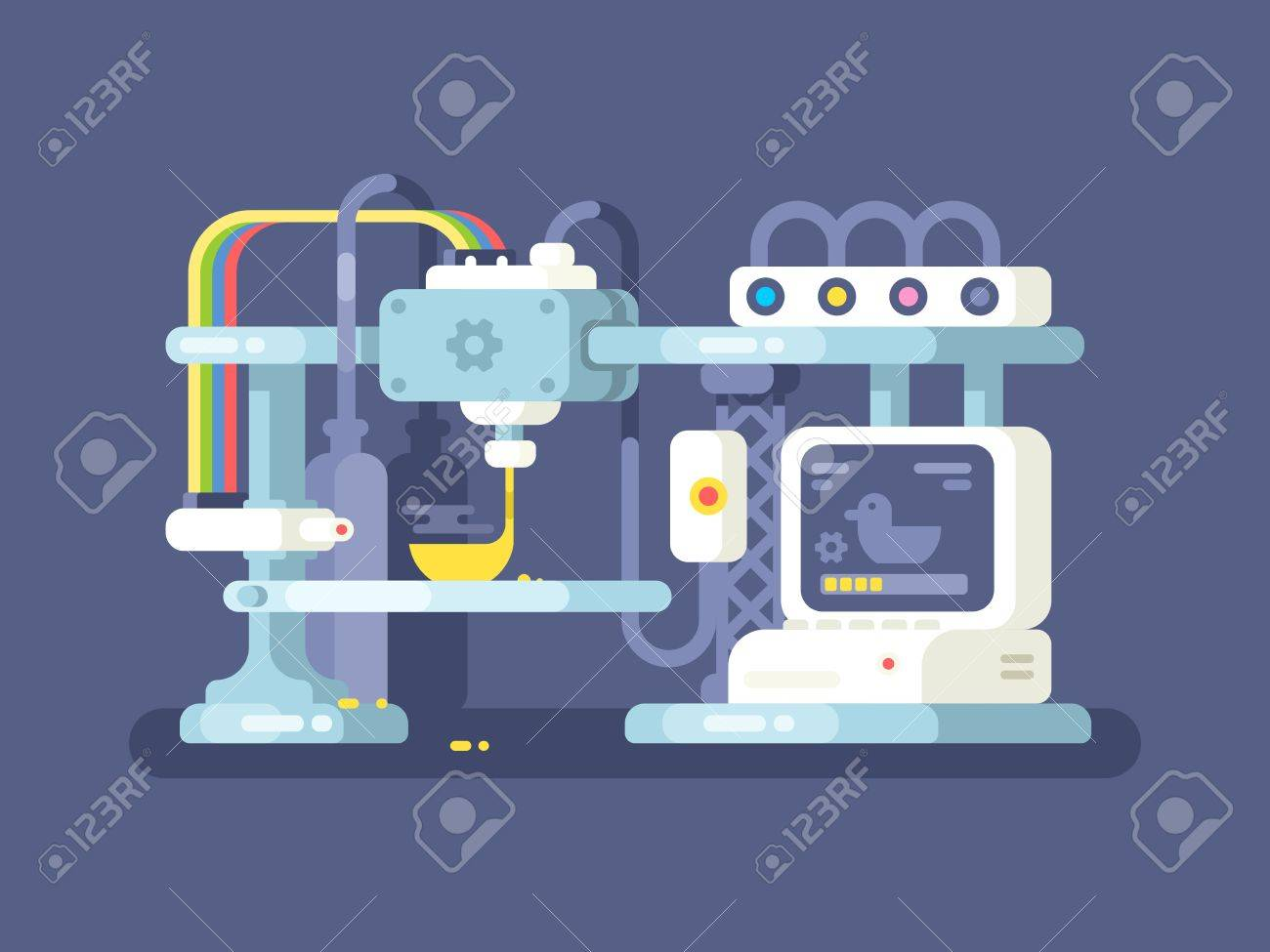 3d printing device flat design. Technology manufacturing and prototype. Vector illustration - 57081181
