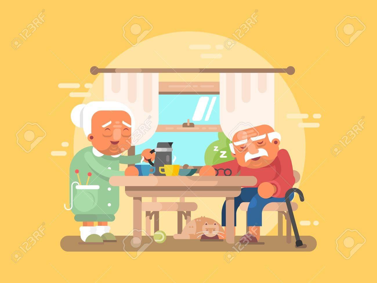 Grandparents breakfast flat. Grandfather and grandmother elderly character illustration - 57937486