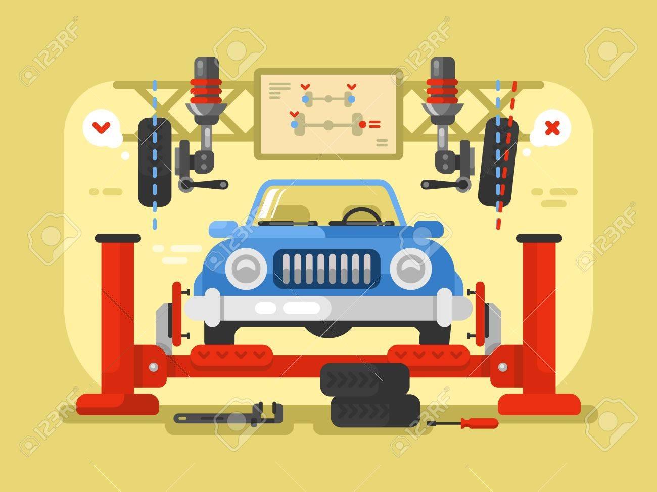 Suspension Car Design Flat Auto Repair Service Station