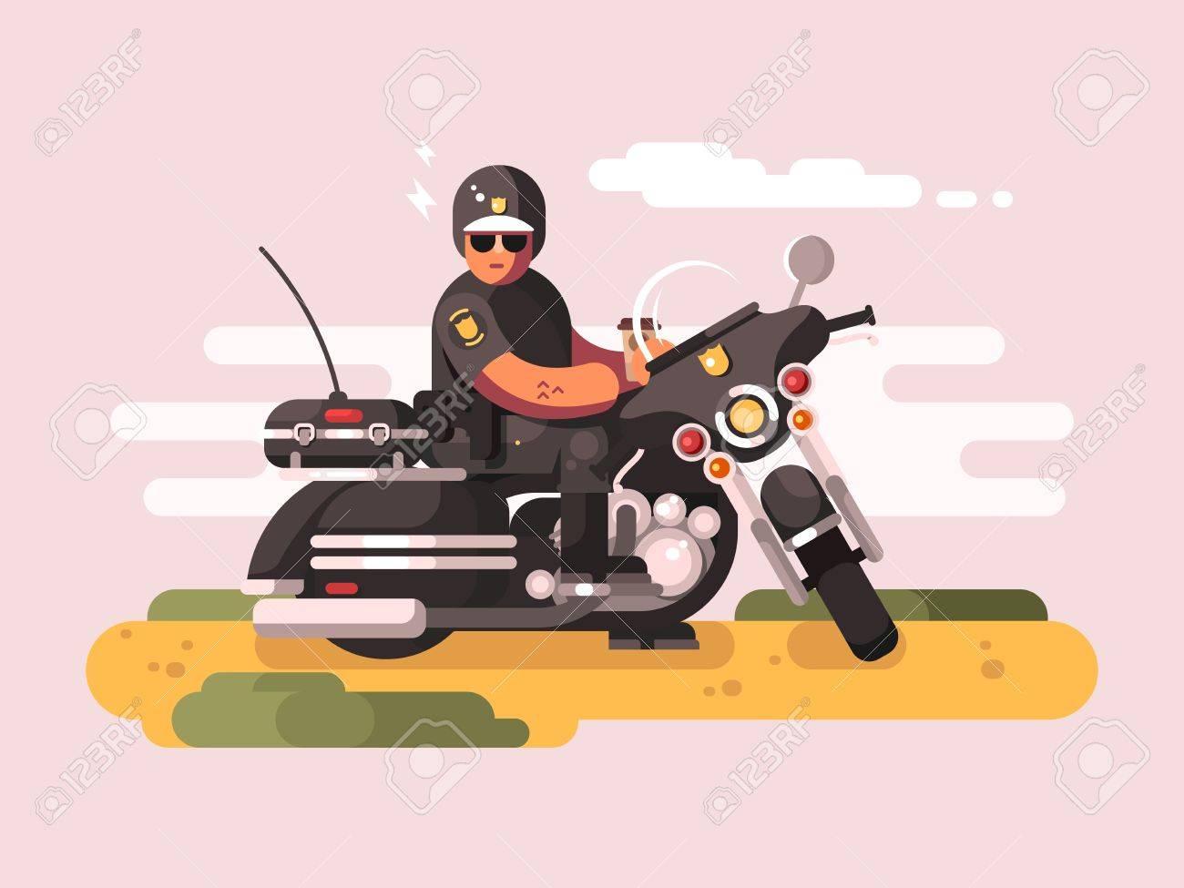 バイクの警察官警官のバイカーモト パトロールイラストのイラスト