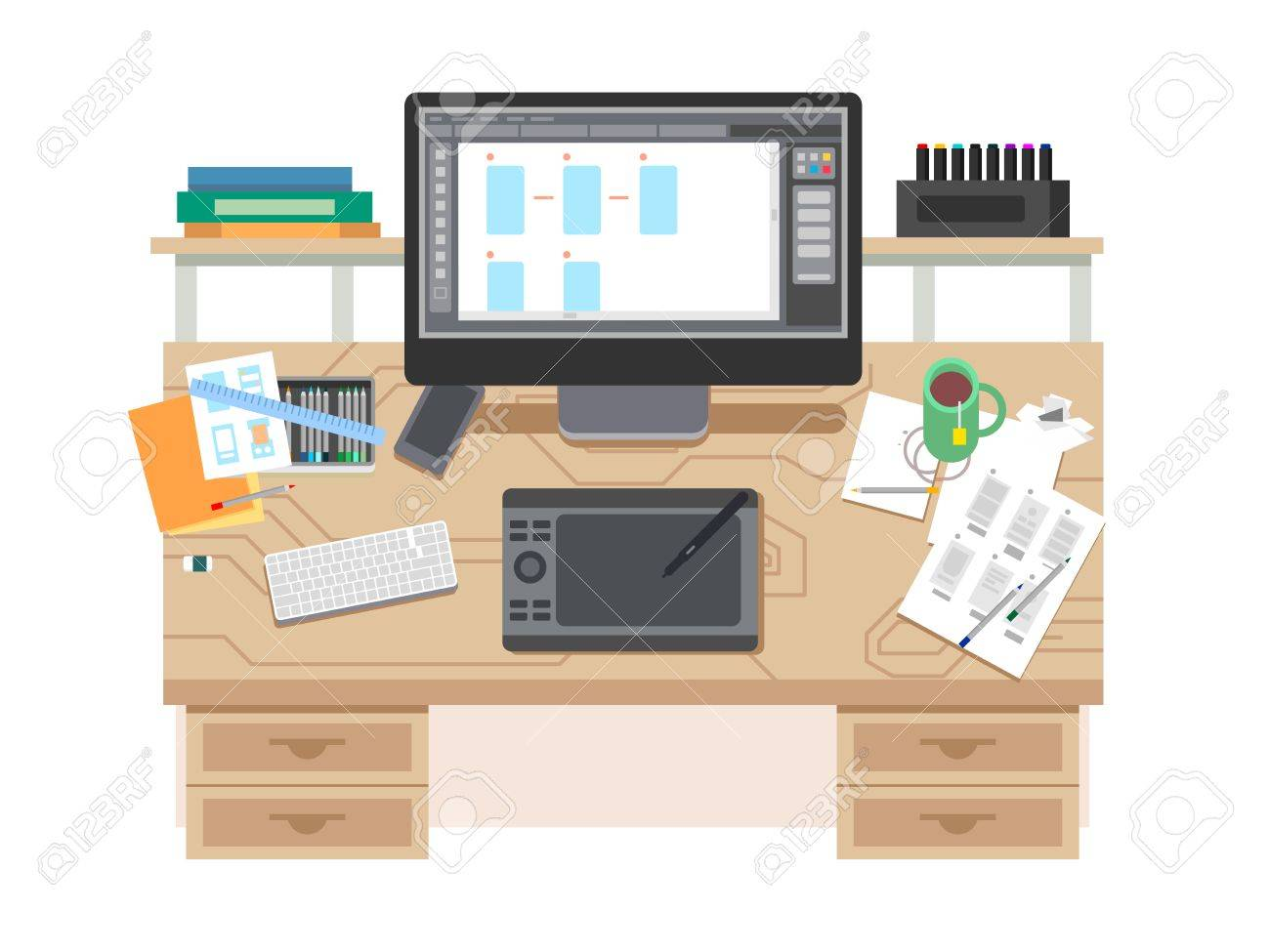 ui and ux app design workspace room and desk office designer place with