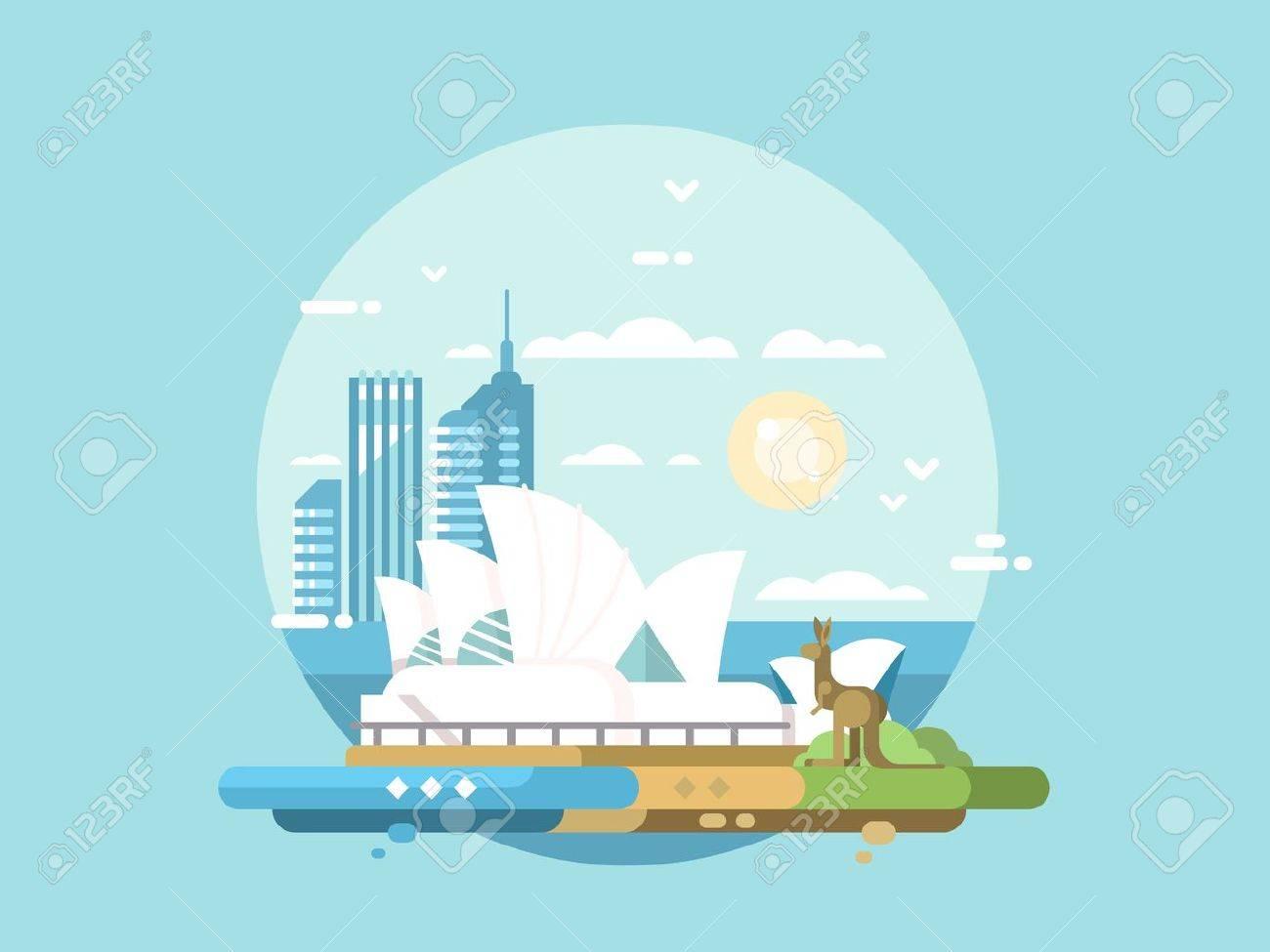 Sydney city flat design. Modern opera house and kangaroo. Vector illustration - 61668584
