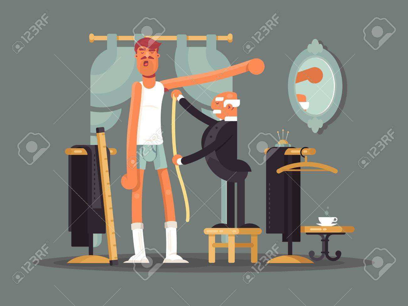 Taking measures at tailor shop. Tailoring, custom clothes vector illustration. - 64156065