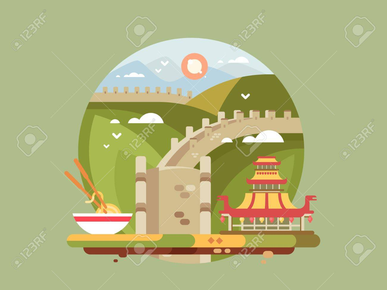 Great Wall Of China. Famous Landmark And Chinese Architecture ...
