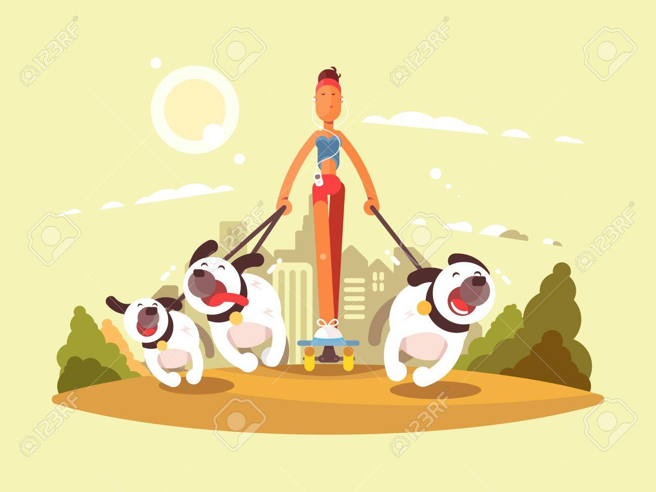 Woman on skate walk with dogs. Stroll in park with favorite pets. Vector illustration - 64156204