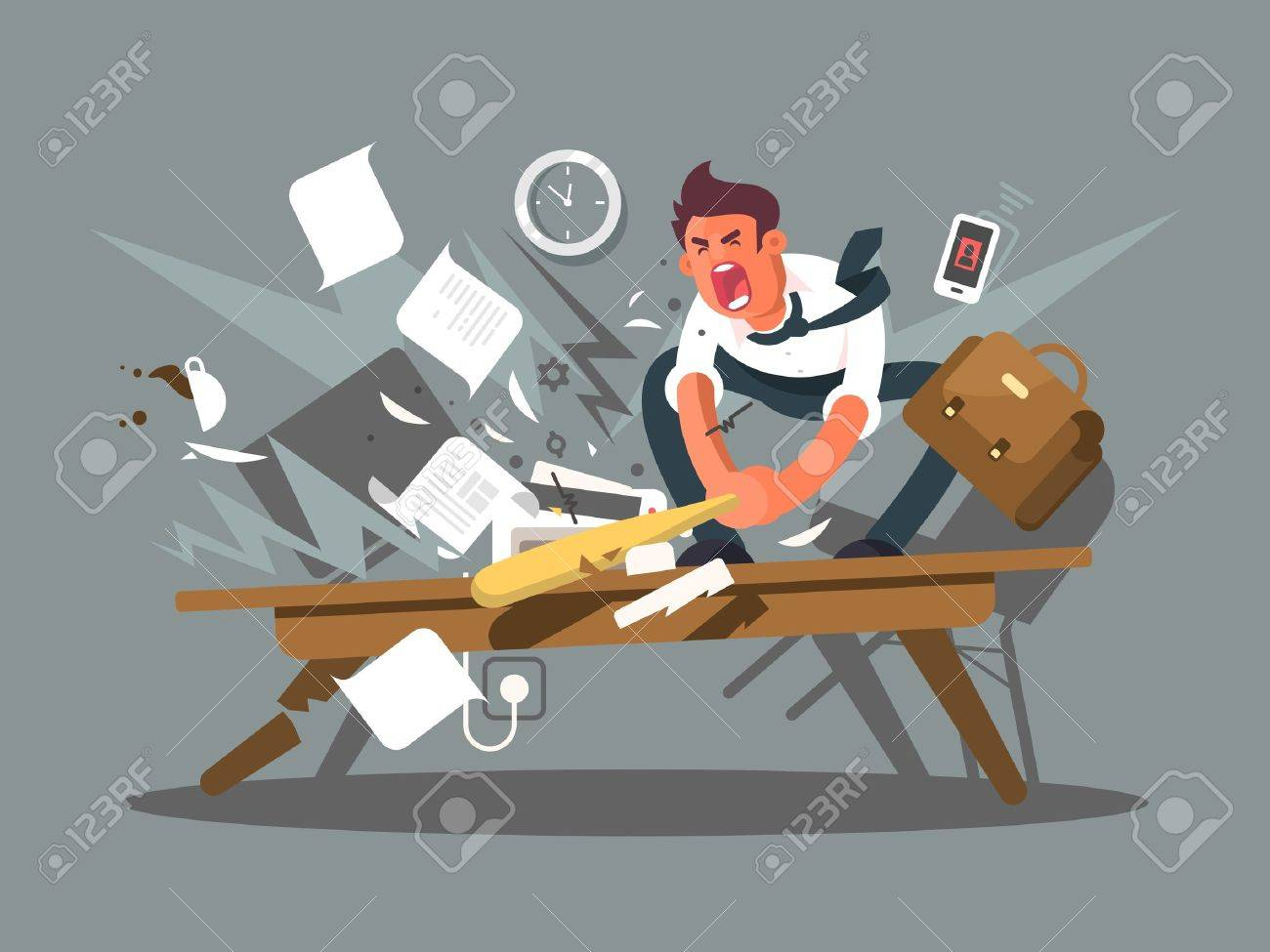 Angry and exasperated employee. Office worker smashing a table bat. Vector illustration - 64156398