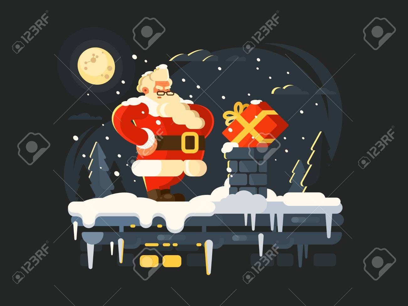 Santa Claus on roof pushes gift in chimney. Vector illustration - 66766195