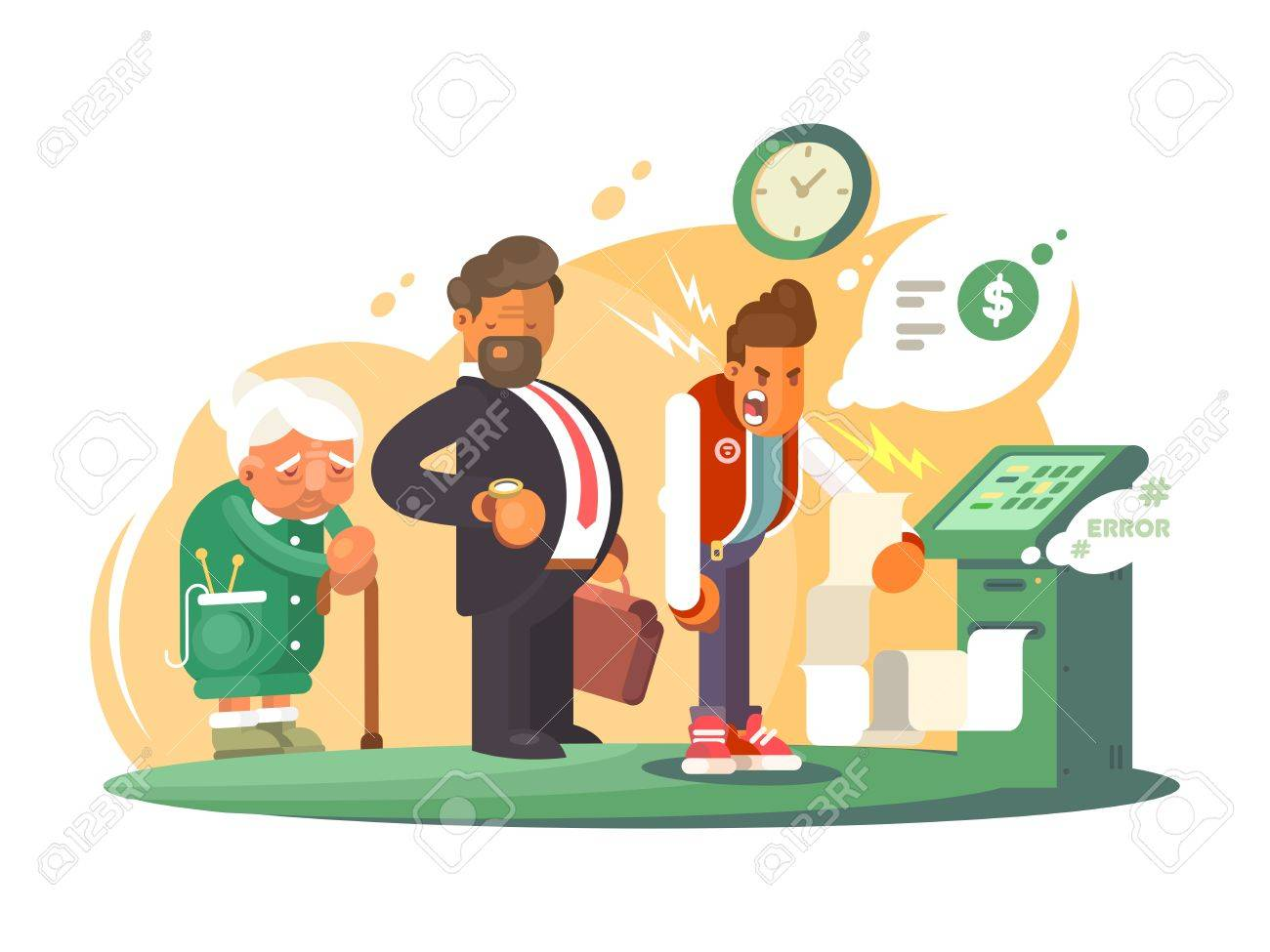 Bad service at bank. Queue of people at cash machine. Vector illustration - 68804584