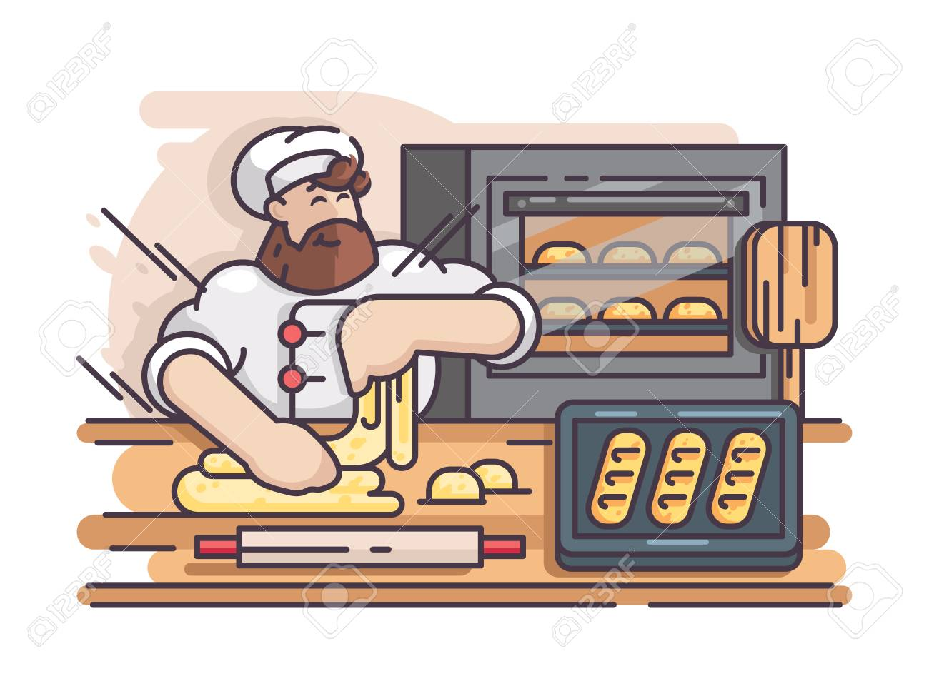 Baker kneads and cooking dough. Cook prepares pastries in kitchen. Vector illustration - 95195795
