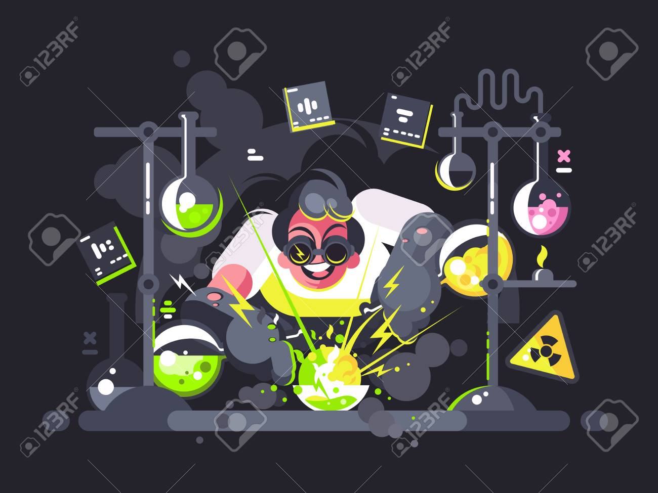 Scientist chemist making chemical experiment - 96047052
