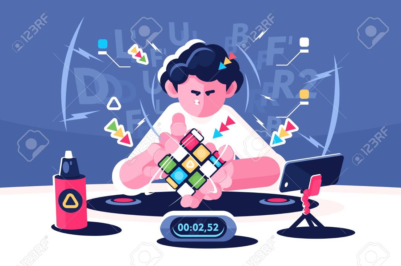 Man collect Rubik Cube timer championship concept - 110028825