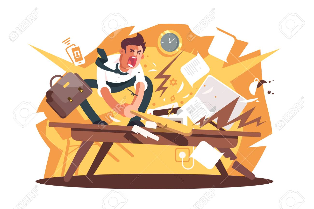 Angry and exasperated worker crushed workplace. Cartoon wrathful man destroys work position with baseball bat vector illustration flat concept. Nervous breakdown because of problems or stress at work - 126159755
