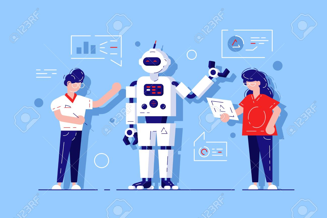 Man and woman developing chat bot - 119418028