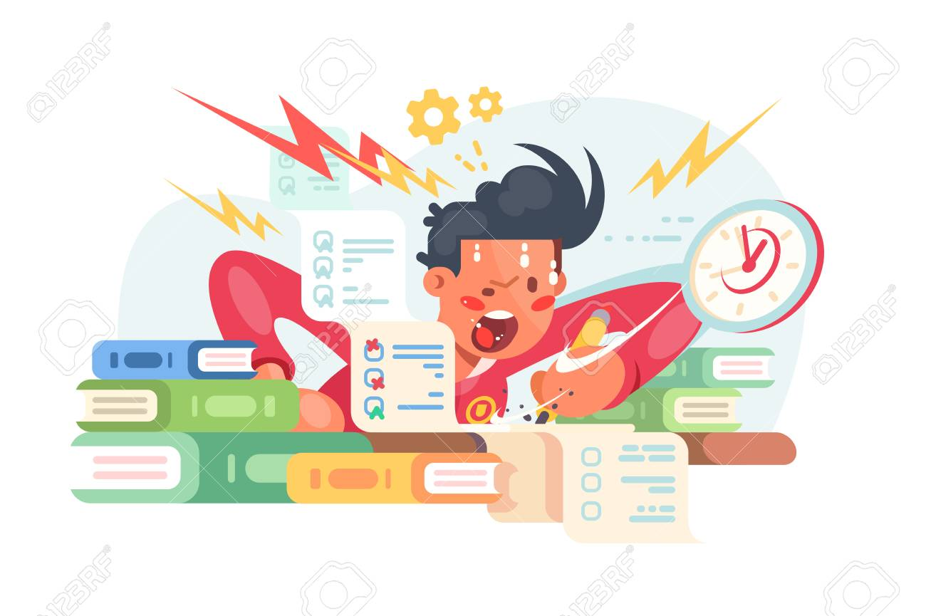 Young student before exams vector illustration. Scared boy doing some hard assignments and preparing for module work. Man panicking hard flat style design . Sleepless night before final test concept - 123407831