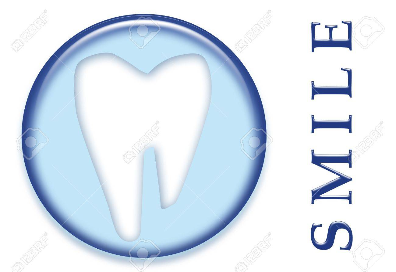 A dental molar tooth with smile text button logo Stock Photo - 4075206