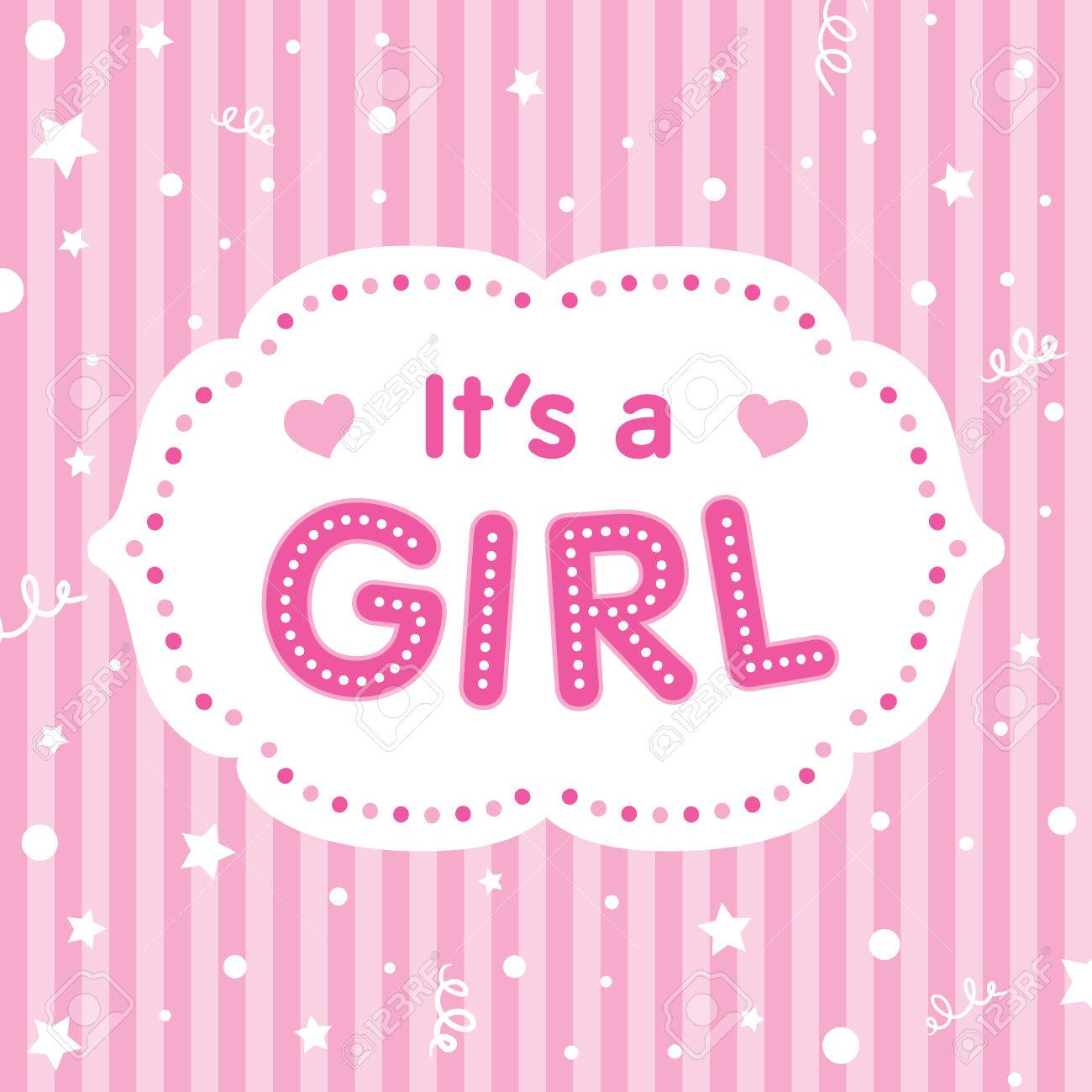 It S A Girl Vector Congratulation Card Baby Shower Card Cute