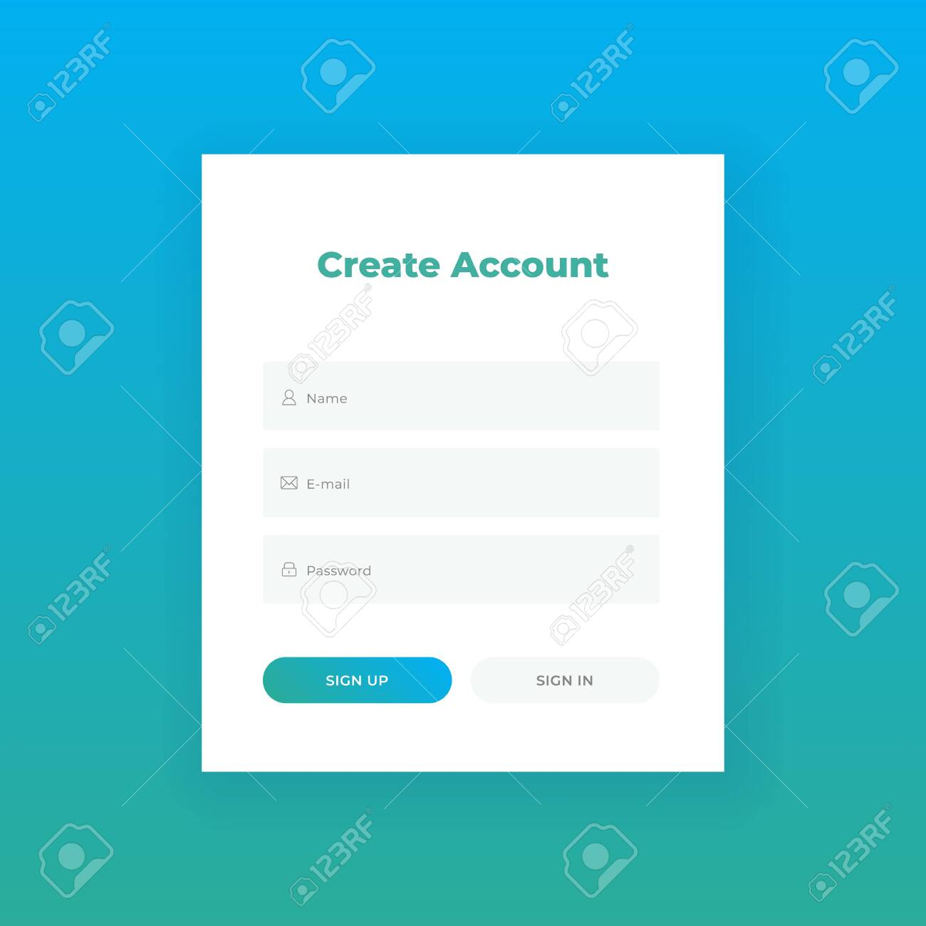 Create Account. Login form for web site Material design template. UI UX - 122044327