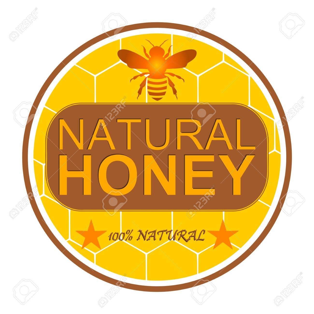 蜂は100 自然 イラストと蜂蜜ラベルのイラスト素材ベクタ Image
